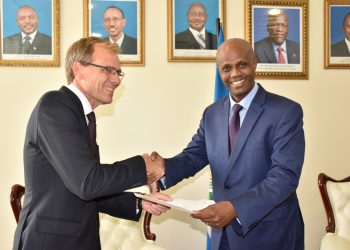 Swedish Ambassador to Tanzania and the EAC Anders Sjöberg (left) presents his credentials to EAC Secretary General Amb. Liberat Mfumukeko at the EAC Headquarters in Arusha, Tanzania.- The Exchange