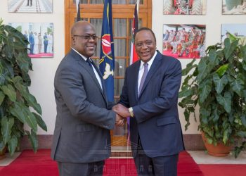 President Uhuru Kenyatta with his DR Congo counterpart Felix Tshisekedi at State House Nairobi. Tshisekedi says his country is willing to join the East African Community (EAC) to deepen its economic ties with the region. www.exchange.co.tz