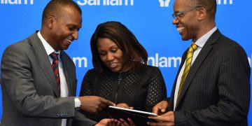 Sanlam Kenya Chief Financial Officer Kevin Mworia with Life CEO Stella Njunge and Group CEO Patrick Tumbo. Weeks after announcing a profitable turnaround, the company has approved a Voluntary Early Retirement scheme for its staff. www.theexchange.africa