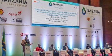 Tanzania Minister of State for  Investment Prime Minister's office, Hon. Angela Kairuki addressing delegates at the 3rd Oil and Gas Congress held in Dar es Salaam.