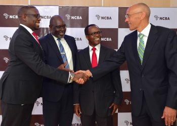 L-R, Geoffrey Odundo (CEO NSE), Isaac Awuondo – (Chairman Designate NCBA Bank PLC), John Gachora (Group MD NCBA Bank Kenya PLC) and  James Ndegwa (Chairman, NCBA Group PLC) during the NCBA Group PLC additional shares listing at NSE